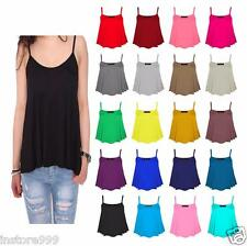 LADIES PLAIN SLEEVELESS LOT STRAPPY SWING VEST CAMI CASUAL TANK TOP  PLUS SIZE
