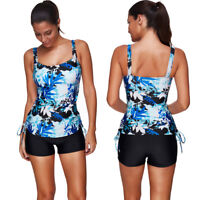 Womens Tankini 2 Piece Boyshort Swimsuits Floral Swimwear Push Up Monokini M-3XL