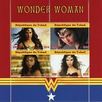Chad Superheroes Stamps 2019 MNH Wonder Woman Gal Gadot Film Movies 4v M/S