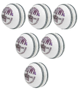 6 XCrown White Cricket Ball Match Quality School Match Balls 4 Piece Hand Stitch