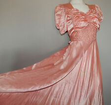 Vintage 40s Hollywood glam trapunto pink satin long dress gown feather headdress