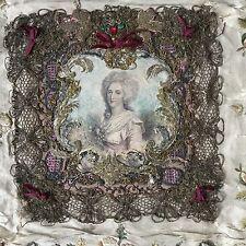 Souvenir Marie Antoinette Fin XVIIIè Broderie Soie Fil d'Or Georgian FRENCH 18 C