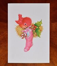 Vintage UNUSED Christmas Card PINK BIRD in a NEST and PINK STOCKING