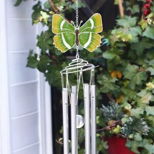 Large Hairstreak Green Butterfly Windchime - Spiral Pipes Sun Catcher