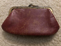 Vintage early 1900's mini red leather coin purse pouch metal clasp