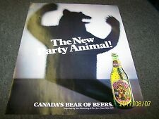 1980'S GRIZZLY BEER -CANADA'S BEAR OF BEER / PARTY ANIMAL COLLEGE POSTER - NEW !