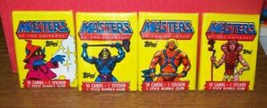 LOT OF 4 MASTERS OF THE UNIVERSE 1984 TOPPS VINTAGE SEALED WAX PACK L@@K!!!