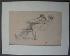 LEON LEPELTIER (1877/1960)  Dessin  - ETUDE PERSONNAGE - Paris 1900   (1)