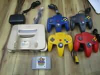 Nintendo 64 Console Gold w/4controller Cable Didy Kong Racing N64 R57