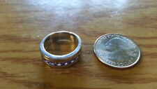 Beautiful Square Lavender CZs Solid Band Ring Real Sterling Silver*Size 7*H353