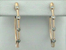 Diamond Hoop Earrings 18k Pink Gold w/8-Diamonds @0.56ct total weight