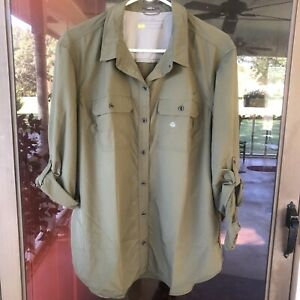 Eddie Bauer Travex NWT Womens Sz XL Mtn Ripstop Shirt Hiking Tab Sleeve Nylon