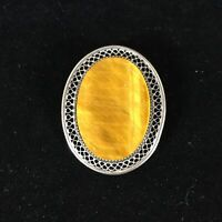 Vintage Beau Sterling Silver Brooch Tigers Eye Stone Oval Agate Ornate Lace Pin