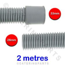UNIVERSAL 2 METRE LONG DISH / GLASSWASHER GREY DRAIN OUTLET HOSE FLEXIBLE PIPE