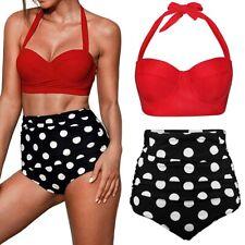 Women Retro 50s High Waisted Bikini Set Push-Up Swimsuit Polka Dot Swimwear 2PCS