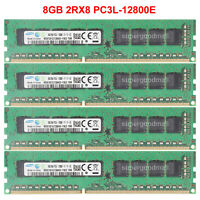 For Samsung 8GB 16GB 32GB 2RX8 PC3L-12800E DDR3-1600Mhz ECC Unbuffered Memory