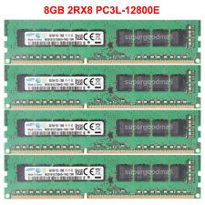 For Samsung 32GB 4X8GB 2Rx8 PC3L-12800E DDR3L-1600MHz ECC Unbuffered Memory