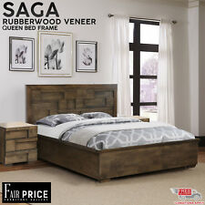 New Luxury High Quality Saga Queen Bed Frame with Solid Slats, Antique Color