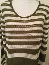 Paradise Shores Woman's Green & White Beach Sweater NWT Size XLarge Retail $56.