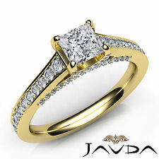 Princess Cut Pave Set Diamond Engagement Ring GIA E VS1 18k Yellow Gold 1.47Ct