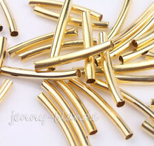 100Pcs Curved Tube Gold Plated Elbow Noodle Spacer Loose Bead Jewelry 1.5*1.5mm