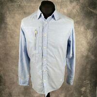 G-Star Raw Denim Look Light Blue Powel 3D Shirt Zip Pocket M Medium Long Sleeve