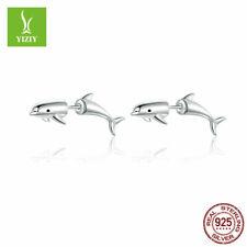 Dolphin 100% 925 Sterling Silver Women Earrings Fashion Ear Stud Jewelry Gifts