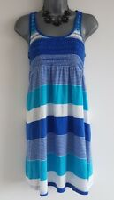 Size 14 Dress NEW LOOK Blue White Striped Casual Stretch Excellent Condition
