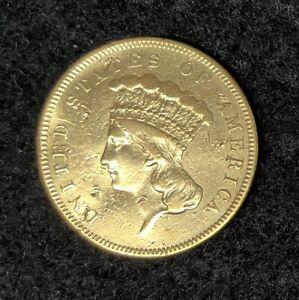 1855 $3 INDIAN PRINCESS HEAD GOLD THREE DOLLAR