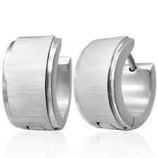 Boucles d'oreilles homme en acier brillant et brossé large ZE0011