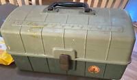 VINTAGE Fishing Box Avacado Green 3-tray Tackle Box