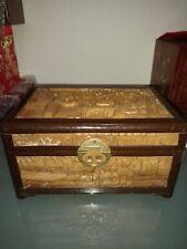 金丝楠木五面雕珠宝盒antique gold nanmu wooden jewelry box Carved brass lock Chinese art