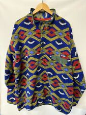 Patagonia Synchilla Fleece Jacket Snap-T Pullover Blue Red Geometric Tribal 2XL