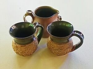 Australian Studio Pottery MUGS and JUG lot of 3 Bark and Gumnuts and Leaves