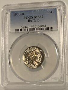 1938 D Buffalo Nickel Graded MS67 by PCGS