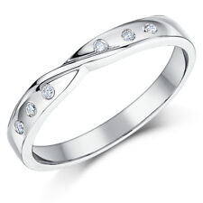 9ct White Gold Diamond Set 3mm Twist Wedding Ring Band