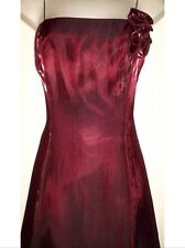 UK Long Evening Prom Party Bridesmaid Satin Red Dress Ball Gown Cocktail size 10