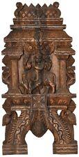 "GOD Krishna Fluting Wall Hanging Craft 23.7"" Wood Carved Temple Figure Hindu 3KG"