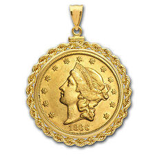 $20 Liberty Gold Double Eagle Pendant (Rope-ScrewTop Bezel) - SKU #63487
