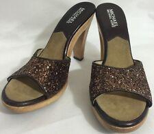 Michael Kors Brown Sparkle Sandals/Wooden Heel Size 61/2M NEW!!