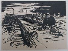 "GERMAN PRINTMAKING, 1949  Walter Glinka. ""Analogie."" Woodcut in black."