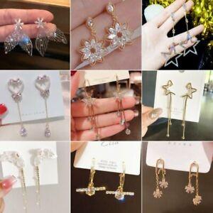 Elegant Star Zircon Dangle Earrings Crystal CZ Drop Earrings Women Jewelry Gift
