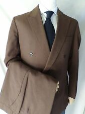 DUAL VENT pin stitch chocolate brown crisp wool double breasted suit 36x31 40R