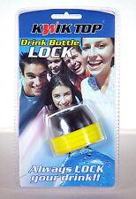 2 x Drink Bottle Lock Protectors Combination Protect Spiking Kwik Top Yellow