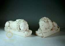 More details for white pair of stone canova chatsworth recumbant lions