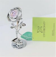 Crystocraft Silver Rose Special Mum Gift With Pink Strass Swarovski Crystal