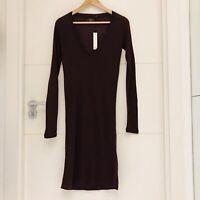 MAJESTIC PARIS BURGUNDY DRESS CASHMERE TENCEL MIX SIZE 1/ UK 8 V-NECK NEW