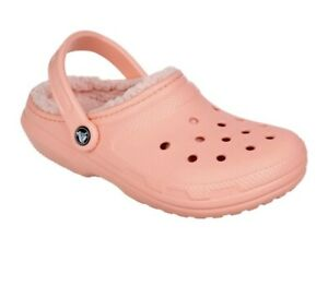 Crocs Classic Fuzz Lined Clog Peach Womens Size 8 NWT