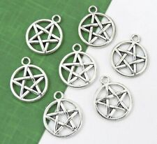 6 Pentagram Charms, Tibetan Antique Silver Wiccan Witch Charm Set, 20x17mm