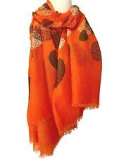 Orange Scarf Ladies Circles Wrap White Blue Brown Large Tangerine Spotted Shawl